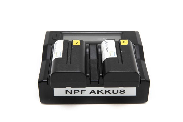 NPF Ladegerät Set mit 2 Akkus mieten